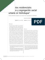 Conjuntos residenciales  cerrados y segregación social  urbana en Valledupar