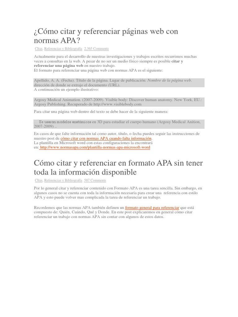 Referencias normas apa para paginas web