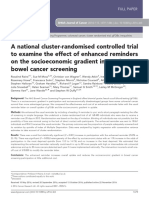 A National Cluster-randomised Controlled Trial to Examine the Effect of Enhanced Reminders on the Socioeconomic Gradient in Uptake in Bowel Cancer Screening
