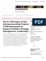 The 9+ PTƟ Types of SDG Entrepreneurship Projects ( PTƟ Assessment of Impact & Holistic Strategic Management