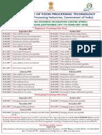 Training Calendar Sept 2017 Feb 2018