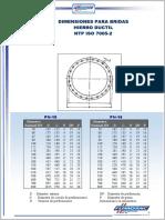 Dimensiones p'Bridas NTP ISO 7005-2 PN10,16