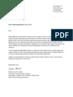 melina miller letter of recommendation