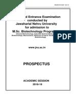 M.sc. Biotechnology Prospectus 2018-19