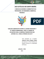 Análisis Comparativo Entre El Leasing Financiero y El Crédito Empresarial, Para La Compra de Volquetes Para La Empresa Transportes San Antonio s.r.l. Para El Periodo 2012-2017