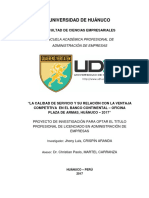 Calidad de servicio y su relacion con la Ventaja competitiva en el Banco Continental - oficina Plaza de Armas, Huanuco - 2017.