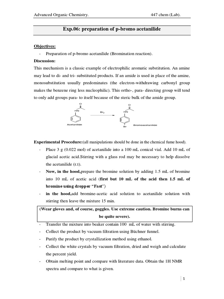 Exp 06 Preparation of P-bromo Acetanilide | Organic Chemistry | Solution