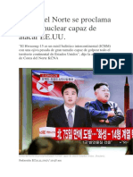 Corea Del Norte Se Proclama Estado Nuclear Capaz de Atacar EE