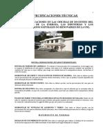 ESPECIFICACIONES TECNICAS DE LA CONSTRUCCION