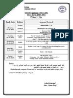 October Primary Qizzes Timetable