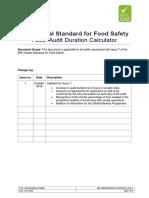 BRC Global Standard for Food Safety - Audit Duration Calculator