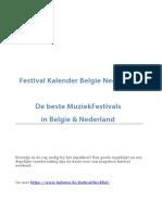 Festival Kalender 2018 Muziekfestivals Belgie Nederland