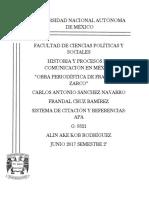 Carlos y Frandal Obra Periodistica de Francisco Zarco Trabajo Final. 1.