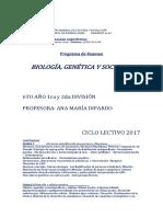 BIOLOGIA GENETICA Y SOCIEDAD 6° 1ro. y 2da.