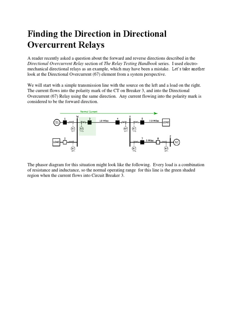 Finding the Direction in Directional Overcurrent Relays Electrical