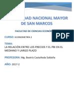 La Relación Entre Los Precios y El Pbi en El Mediano y Largo Plazo