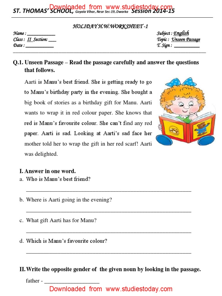 Worksheets Comprehension Passages For Grade 1 cbse class 2 english practice worksheets 113 unseen passage syntactic relationships morphology