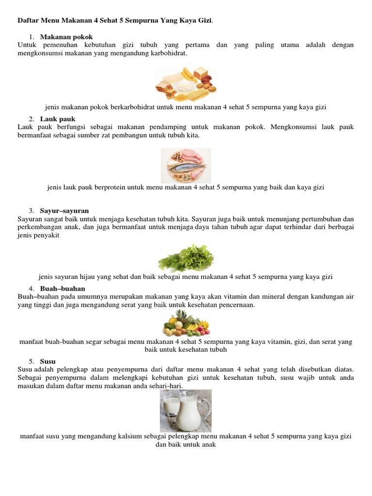 Daftar Menu Makanan 4 Sehat 5 Sempurna Yang Kaya Gizi