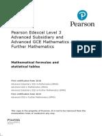 Pearson Edexcel a Level GCE in Mathematics Formulae Book