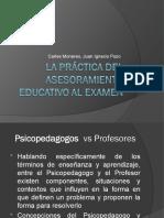 La práctica del asesoramiento educativo al examen