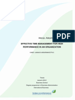 Effective Time Management for High Peformance in an Organization