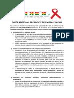 Carta Abierta de las Personas Con VIH al Presidente de Bolivia (Evo Morales Ayma), 1ro Diciembre 2017