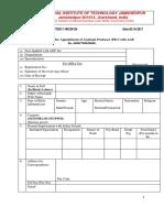 Application Form NIT Jamshedpur Assistant Professor Posts