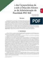 A visão das características da liderança sob a óticas dos alunos do curso de Adminstração da Faculdade Pio XII