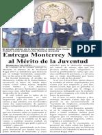 29-11-17 Entrega Monterrey Medalla  al Mérito de la Juventud