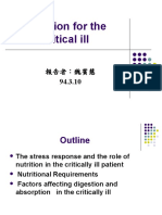Nutrition for the Critical Ill