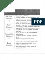 informational text summary rubric