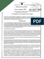 Decreto 885 Del 26 de Mayo de 2017