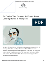 On Finding Your Purpose_ an Extraordinary Letter by Hunter S