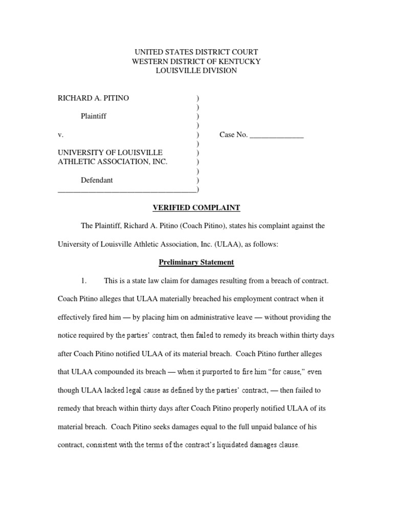 Pitino ULAA Verified Complaint | Damages | Breach Of Contract