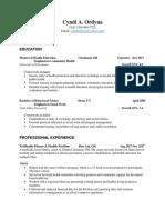 resume - cynthia ordyna