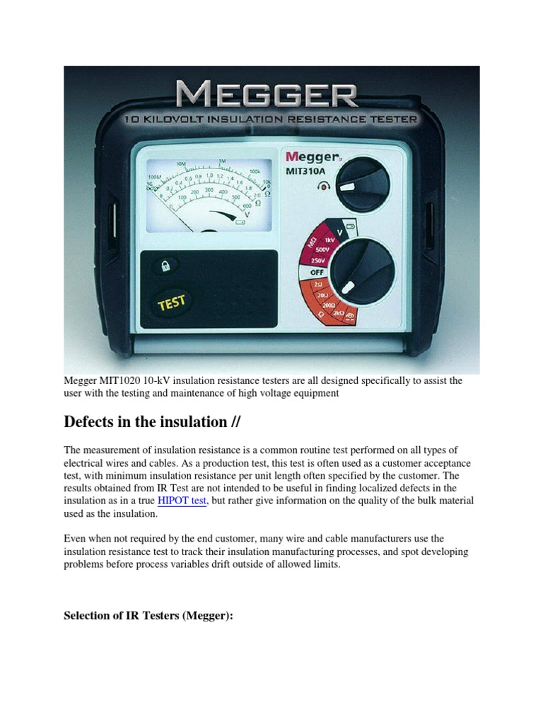 Megger MIT1020 10 | Insulator (Electricity) | Electrical Resistance ...