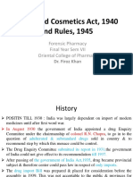 Drugs and Cosmetics Act, 1940 and Rules, 1945