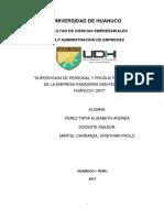 SUPERVISIÓN DE PERSONAL Y PRODUCTIVIDAD LABORAL DE LA EMPRESA PANADERIA SAN FELIPE E.I.R.L HUÁNUCO - 2017