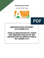 Manifestation d Interet Audit Marches 2014