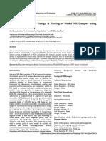 Typical Experimental Design & Testing of Model MR Damper Using