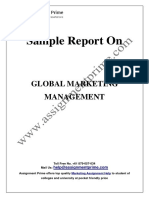 Sample Report on Global Marketing Management by experts of Assignment Prime