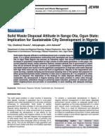 Solid Waste Disposal Attitude in Sango Ota, Ogun State