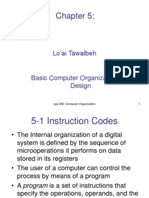 Chapter 5 Basic Computer Organization And Design Central Processing Unit Input Output