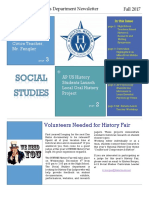 Social Studies Department Fall 2017 Newsletter