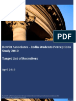 Hewitt Associates_India Students Perception Study_Target List of Companies