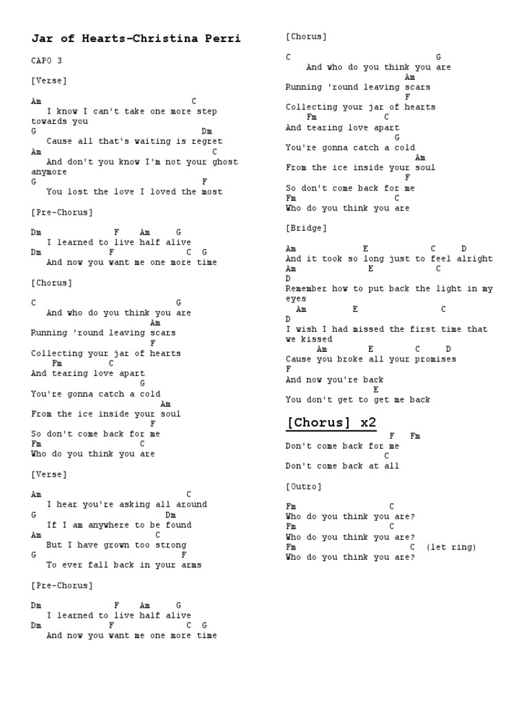 Jar of Hearts Chords   PDF   Song Structure   Leisure