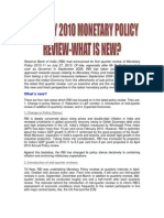 Monetary Policy RBI July 2010 Review What is New VRK100 30082010