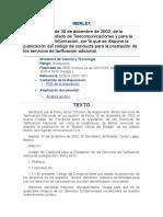 Teleco Res 30-12-2002 Código Conducta Tarificación Adicional