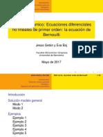 Análisis Dinámico - Ecuaciones Diferenciales No Lineales de Primer Orden - La Ecuación de Bernouilli