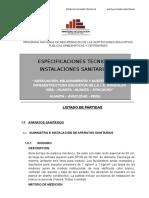 Especificaciones Tecnicas Sanitarias - Ayacucho